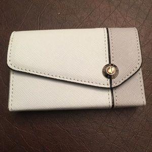 RARE Henri Bendel Card Case Blue/Grey Leather NWOB